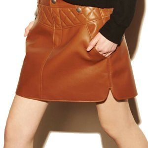 COACH NEW LEATHER MINI SKIRT 4 SMALL
